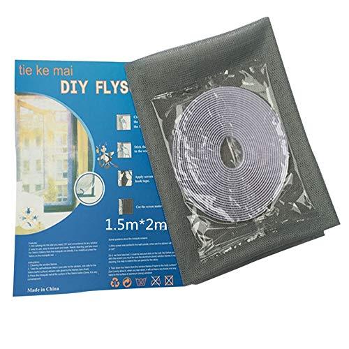 Syeytx Indoor Encrypted Insect Fly Anti Moskito Produkte ungiftig und umweltfreundlich DIY Selbstklebende Moskito Screen Curtain Mesh (Grau)