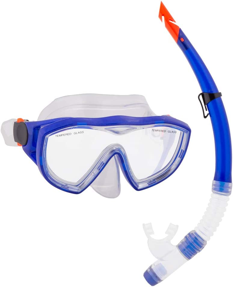 Deluxe Los Angeles Mall Mask and Dry Snorkel Diving Color Choose Blue - lowest price Set
