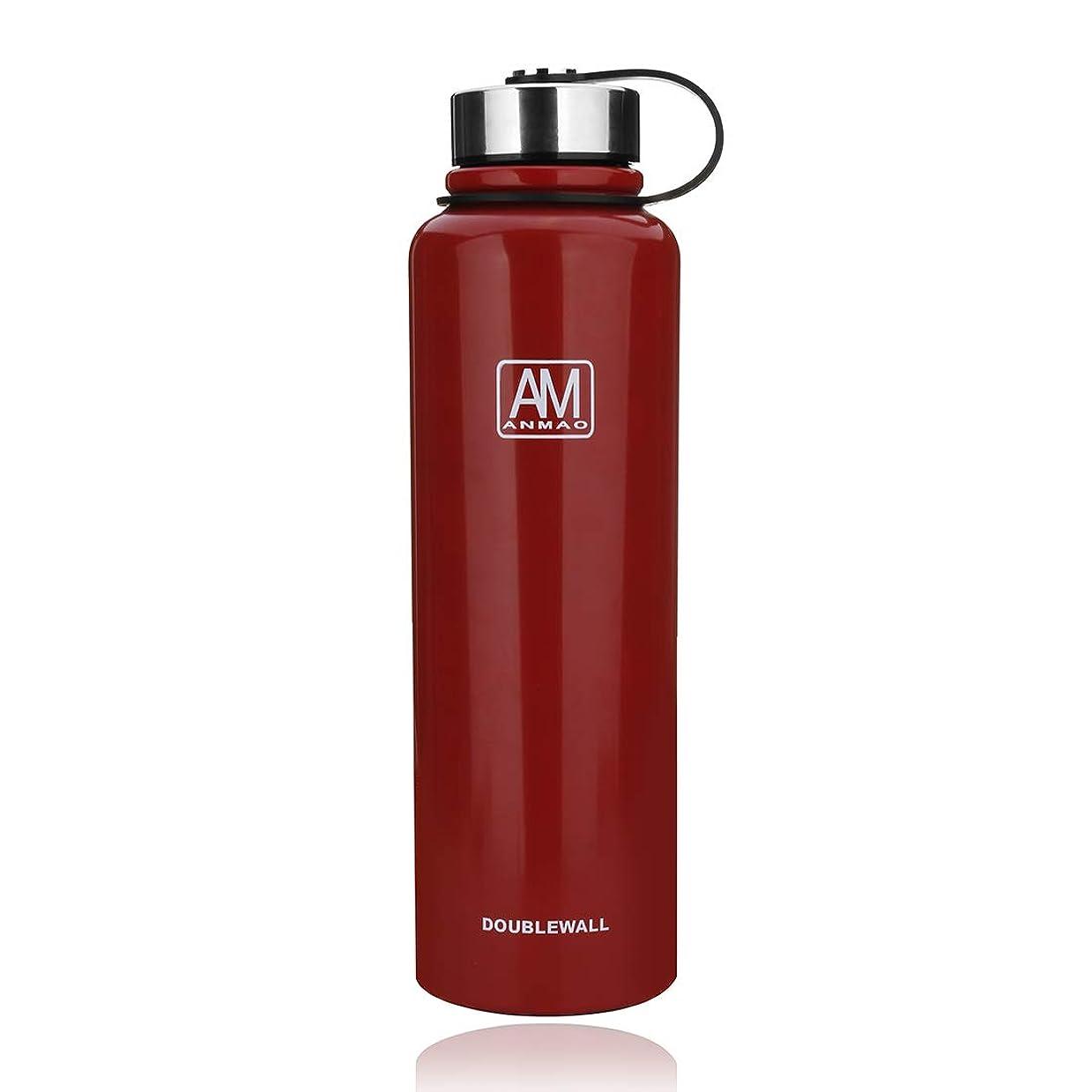 フリースエジプト人デコレーションSCILLO(エスシーアイエルエルオ) 水筒 スポーツボトル 真空断熱 保冷 ステンレス鋼304 直飲み 0.6/0.8/1.1/1.5リットル (レッド,610ml 195x86mm)