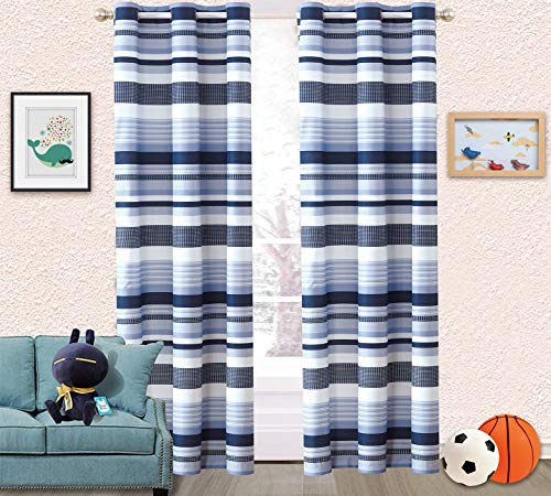 "Sapphire Home Kids Boys Teens 2 Window Curtain Panels 84"" Length, Stripes Checked Blue White Navy Print Design Window Curtain for Teens Boys Girls, Kids Bedroom Décor, Stripes Curtain"