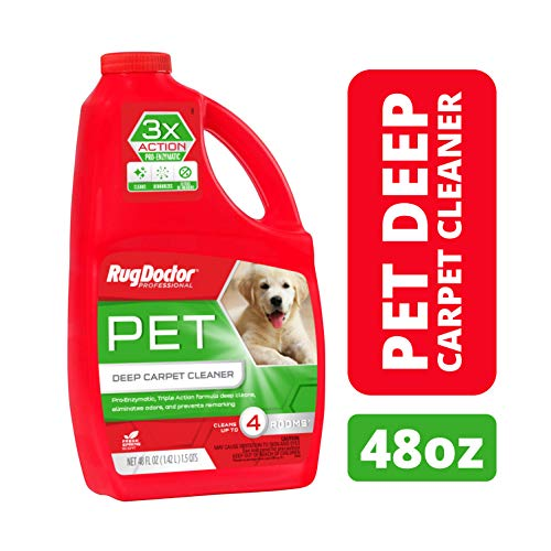 Rug Doctor Triple Action Pet Deep Carpet Cleaner; Permanently Removes Tough Pet Stains and Odors, Professional-Grade, Protects Soft Surfaces from Pet Accidents, Cleans 4 Rooms, CRI-Certified, 48 Oz.