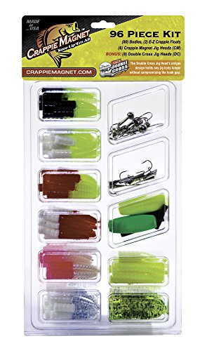 Crappie Magnet 96-Piece Kit - 80 Bodies, 2 E-Z Floats, 6 Crappie Magnet Jig Heads, 8 Double Cross Jig Heads