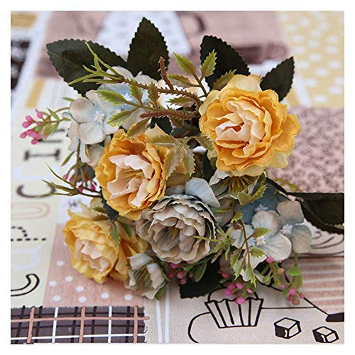 LHHZAL White Pink Colorful DIY Silk Rose Artificial Flower Fake Hydrangea Flowers for Home Garden Wedding Table Decor Artificial Flower (Size : Rose red) (Size : Yellow)