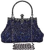 SYMALL Mujer Cartera de Mano Fiesta Vintage Clutch Elegante Retro Bolso de Noche Embrague con Cuentas para Fiesta Cóctel Ceremonia Boda Novia, Azul