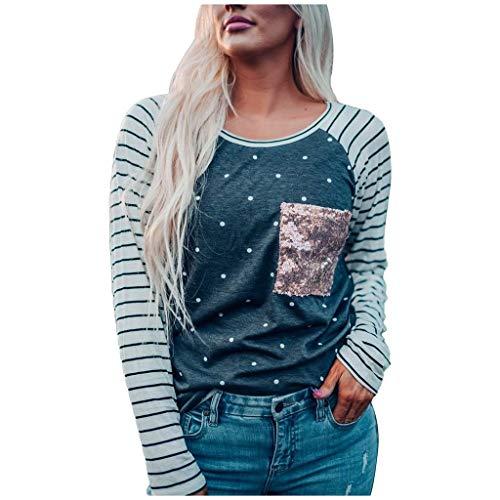 Supertong Langarmshirts Damen Rundhals Sweatshirt Langarm Gestreifter Pailletten Pullover Bluse Beiläufige Patchwork Herbst Winter Jumper Streifen Hemd T-Shirt Oberteile