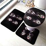Desing shop Kiss BandToilet Mat Set Baño Especial Insípido Protección del Medio Ambiente Antideslizante Grueso Patrón Lindo