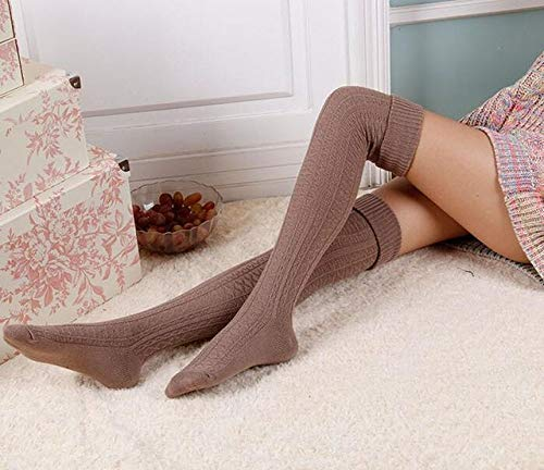 WNFDH sok 2 paar knie sokken vrouwen katoen dij hoog over de knie kousen voor dames meisjes warm lange opslag media