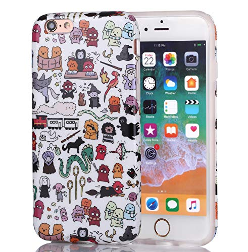 iPhone 6 Case, iPhone 6s Case for Girls, Women Best Protective Cute Clear Slim Fit Glossy TPU Soft Rubber Silicone Cover Phone Case for iPhone 6 / iPhone 6s (Kawaii Harry Potter Doodle)