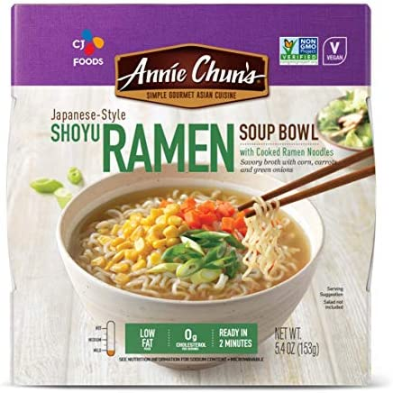 Annie Chun s Shoyu Ramen Noodle Bowl Non GMO Vegan Shelf Stable Pack Of 6 Japanese Style Savory product image