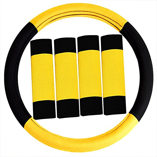 FH Group FH2033YELLOW Steering Wheel Cover (Modernistic and Seat Belt Pads Combo...