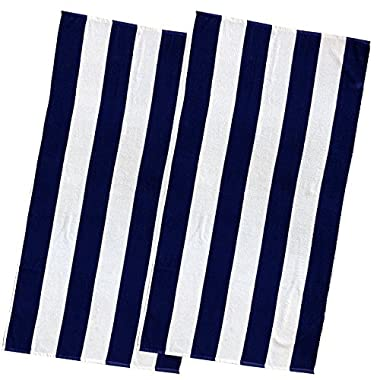 Espalma Copa Cabana Stripe Cotton Beach Towel, Over Size Luxury 30 Inch Wide x 60 Inch Long Set of 2 - Soft and Plush Absorbent Terry Cotton Terry Pool and Spa Towel Set, 2 Pack, Royal Blue