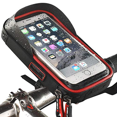Maeau Bicycle Frame Bag Waterproof Mobile Phone Bicycle Bag Bicycle Mobile Phone Holder with Headphone Hole Bicycle Mobile Phone Holder Bag Handlebar Bag Touchscreen for Smartphones up to 6.5 Inches