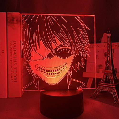 3D anime lámpara ilusión Tokio Ghoul Ken Kaneki para decoración de dormitorio luz nocturna fresco regalo de cumpleaños Tokio Ghoul llevó la luz de la noche Ken Kaneki-control remoto