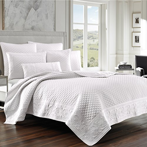 Five Queens Court Zarah Satin Damask Embroidered Coverlet Full/Queen, White