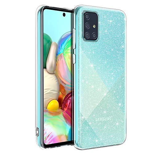 BENTOBEN Samsung Galaxy A71 Hülle Handyhülle Glitzer, Samsung Galaxy A71 Hülle Slim Glitzer Anti Gelb Soft Silikon Bumper Cover Ultra dünn Hülle für Samsung Galaxy A71 Bling Transparent