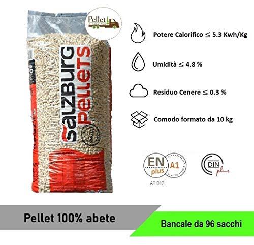 PELLET SALZBURG 100% ABETE AUSTRIACO - ENPLUS A1 - ALTO POTERE CALORIFICO (96 SACCHI)