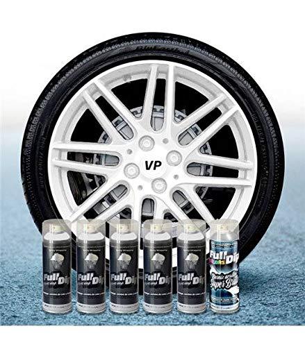 Pack Llantas Vinilo LIQUIDO Full Dip 5 Sprays Blanco Brillo
