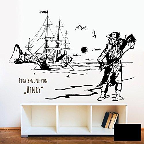 Wandtattoo Wandaufkleber Piratenzone Piratenschiff Pirat Pirateninsel Meer Seeräuber Wunschname Name M1643 - ausgewählte Farbe: *Schwarz* - ausgewählte Größe: *M - 100cm breit x 70cm hoch*