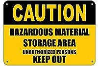 注意危険物許可されていない人が壁を締め出すブリキの看板金属のポスターレトロなプラークの警告看板ヴィンテージの鉄の絵画の装飾オフィスの寝室のリビングルームクラブのための面白い吊り下げ工芸品
