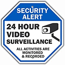 """Security Alert - 24 Hour Video Surveillance, All Activities Monitored"" Sign By SmartSign 