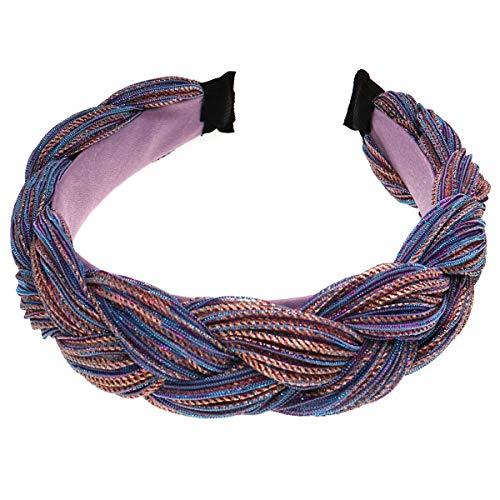 Diadema ancha trenzada, diadema, nudo, turbante, banda elástica para el pelo, accesorios para el pelo para mujeres y niñas, regalo de Navidad para ella morado