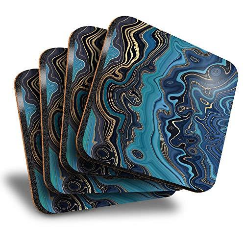 Destination Vinyl ltd Great Posavasos (juego de 4) cuadrados – tinta de mármol azul Art Art Deco bebida brillante posavasos / protección de mesa para cualquier tipo de mesa #21519