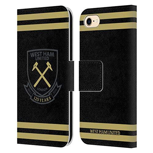 Head Case Designs Licenciado Oficialmente West Ham United FC Negro Oro Rayas Claret 125 Año Aniversario Carcasa de Cuero Tipo Libro Compatible con Apple iPhone 7 / iPhone 8 / iPhone SE 2020