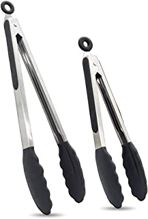 Kitchen Tongs Set of 2 - BPA Free Premium Silicone Tongs for Cooking & Stainless Steel Locking Salad Tongs for Cooking wit...