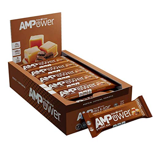 AMPower Energy Bars – High Protein (21g), Caffeine (1 Cup of Coffee), Prebiotics, Low Sugar - Perfect for Pre-Workouts, Running, Cycling, Fitness Enthusiasts. Great Healthy Nutritious Snacks for Morning Boost or Meal Replacement (Pack of 12)