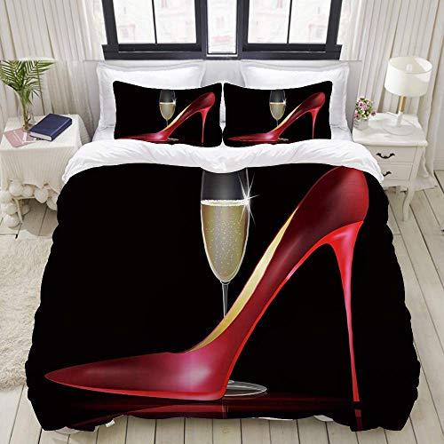 Funda nórdica, Tacones Altos Rojos Zapato de señora Rojo con Copa de Vino Dorado, Juego de Cama Juegos de Microfibra de Lujo Ultra cómodos y livianos