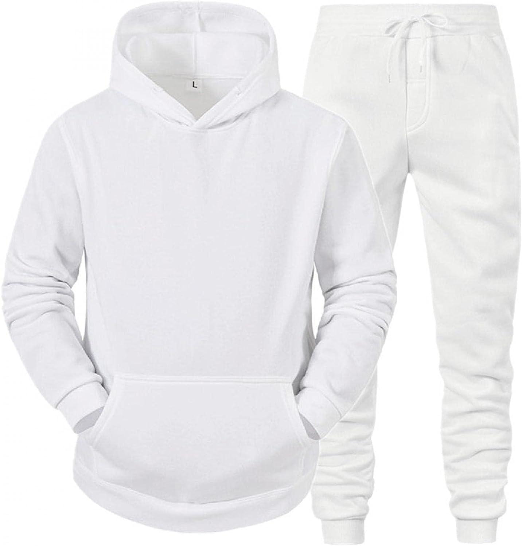 XUNFUN Men's Winter Tracksuits Set Casual Fashion Solid Pullover Hoodies Sweatshirts Comfy Jogger Sweatpants 2 Piece