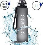 ADORIC Borraccia Sportiva, Bottiglia d'Acqua Sportiva da Palestra con Filtro da 500/1000 ml - No BPA tossica con Cerniera Coperchio (Grigio)