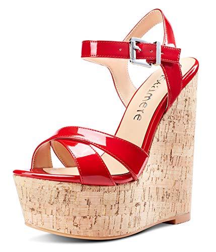 CASTAMERE Zapatos de Tacón Plataforma Mujer Sandalias con Cuña Moda Punta Abierta...
