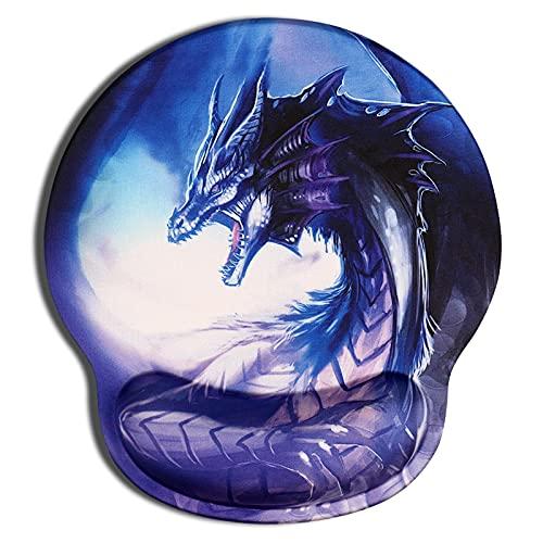 CHUQING Tapis de souris ergonomique avec repose-poignet - Motif dragon bleu