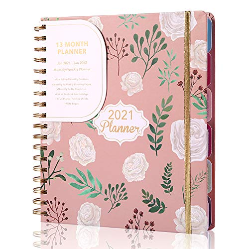 2021 2022 Weekly and Monthly Planner for Moms &Teachers Hardcover Pink Planner with Monthly Tabs, Large 13 Months Planner with Stickers,Jan 2021 - Jan 2022, 8.26' x 9.25'