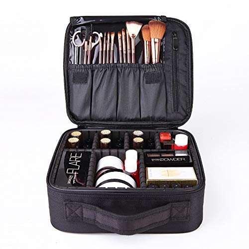 Schminktasche mit Bürste, wasserdichte Make-up-Aufbewahrungstasche für kosmetische Organizer, großvolumige Aufbewahrungsbox für Toilettenartikel mit verstellbaren Fächern (schwarz)