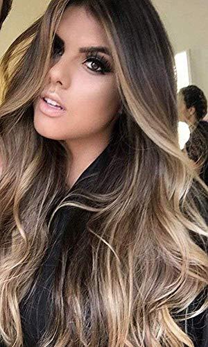 YoungSee Remy Echthaar Perucke Braun mit Blond Balayage 130% Dichte Brasilianisches Echthaar Glatt Lace Front Wig Menschliches Haar 45 cm