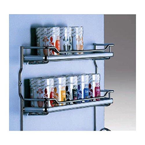Gewürzbord 3-etagig in Chromoptik für Rahmentüren B 530 mm x H 285 mm zum Anschrauben Gewürzregal für Schranktür Halter Küche
