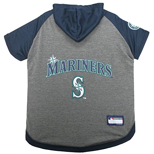 MLB Hoodie for Dogs & Cats - Seattle Mariners Dog Hooded T-Shirt, Medium. - MLB Team Color Hoody