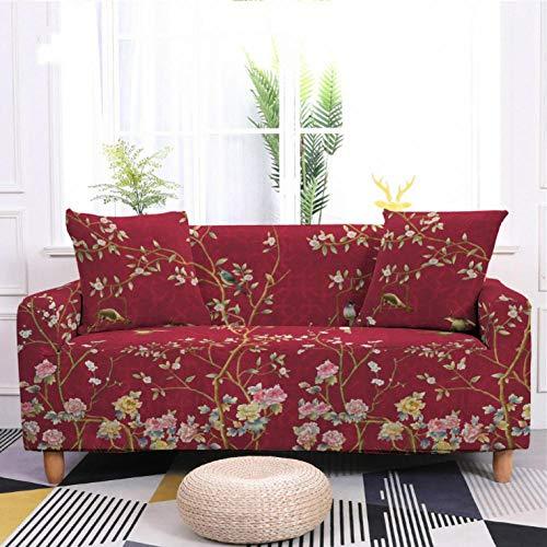 Protector de sofá con Flor Rosa roja Estampado,Fundas de Sofá Elasticas de 1 Plazas,Poliéster Suave con Funda elástica,Antideslizante Protector Cubierta de Muebles