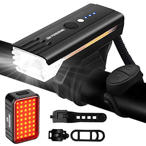 DONPEREGRINO S2 – LED Luces Bicicleta Delantera y Trasera USB Recargables, 500 LM Luz Delantera con Bocina 100 Db & 100 LM Luz Trasera Bicicleta para Seguridad de Ciclismo Montaña y Carretera