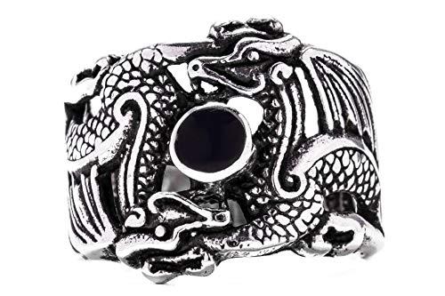 Windalf Drachen Ring FENURA h: 1.9 cm Drachen mit schwarzem Stein 925 Sterlingsilber (Silber, 62 (19.7))