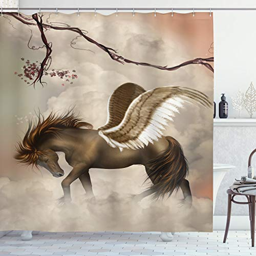 "Ambesonne Mystic Shower Curtain, Huge Winged Pegasus Over The Clouds in Sky Branches and Blooms Scene, Cloth Fabric Bathroom Decor Set with Hooks, 70"" Long, Beige Brown"