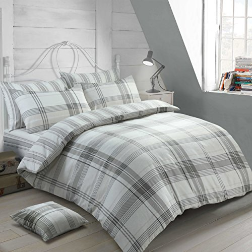 Velosso 100% Cotton Thermal Super Soft Flannelette Brushed Thermal Cotton Checkered Striped Reversible Quilt Cover Bedding Set (Grey, Single Bed)