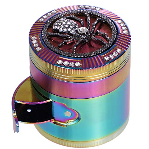 Finzdy Herb Grinder 2.87 Inches 4 Piece Grinder with Pollen Catcher Durable Zinc Alloy Herb Spice Heavy Duty Grinder with scrapper and Easy Access Window (Spider)