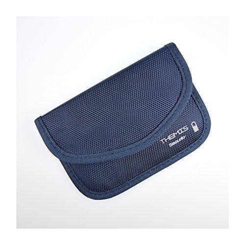 THEMIS Security - Nylon noir - étui de blindage ( GSM / LTE / NFC / RFID ) pour clé de voiture radio-commandée, système Keyless Go, Keycards, 2 compartiments, 3 couches blindage haute qualité