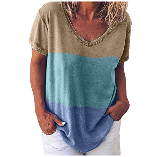 Whyeasy Womens Color Block Print Tops V Neck Short Sleeve Loose Fit Summer Casual T Shirts(Blue,XXL)
