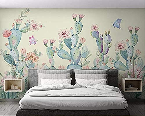 XHXI Customize Any Size 3D Wallpaper Cactus Background Wall Wallpaper Home Decor for Living Room Sofa Tv Background Bedr 3D Wallpaper Paste Living Room The Wall for Bedroom Mural border-200cm×140cm
