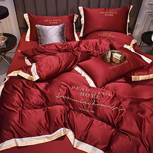 juegos de sábanas 160x200 verano,Primavera y verano bordado de color puro juego de cuatro piezas de seda de hielo lavada de sábana de edredón de cama de seda artificial-mi_Cama de 2,0 m (4 piezas)