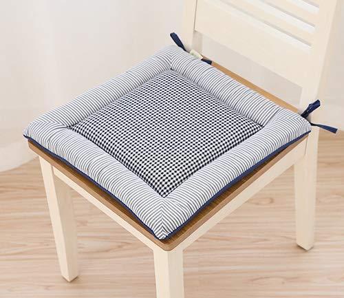 Mkuha 4er Set Stuhlkissen Sitzkissen mit Haltebändern, Baumwolle Sitzauflage für Innen, Gefüllte Schwamm, Gestepptes Design, Quadrat 40x40x3.5cm,Black